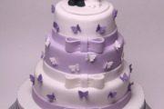 Three tier vanilla madeira sponge wedding cake with hand made topper