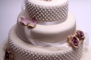 3 tiered fruit cake with hand made sugar flowers