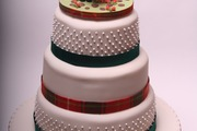 Three Tier Stacked Wedding Cake with Stag and Pig (Bride and Groom) Topper