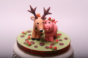 Hand made sugar Stag and Piglet (Bridge and Groom) Topper