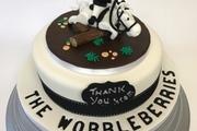 Bespoke topper - Wobbleberry logo - Vanilla sponge cake with butter cream and raspberry jam
