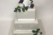 3 Tiered - Fruit, Chocolate and vanilla with handmade sugar roses and freesias
