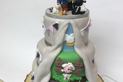 Three Tiered Celebration Cake - Lemon sponge top and bottom and rich fruit middle
