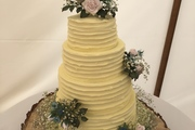 4 Tiered, buttercream finished, Country Garden Wedding