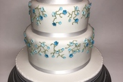 Three tier, three flavoured, sponge with pretty blue blossoms